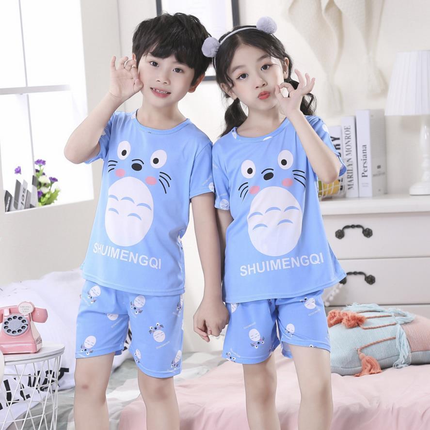Child Summer Pyjamas Kids Boys Pajama Sets Cartoon Print Sleepwear Short  sleeve T-Shirt Tops With Pant Girls Baby Teens Clothes-Leather bag