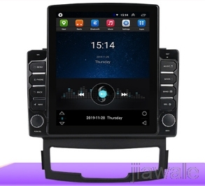 9.7 octa core tesla style vertical screen Android 10 Car radio GPS Navigation for Ssangyong Korando,New Actyon 2011-2013 image