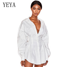 YEYA Sexy White Loose Dress Women Lace Up T Shirt Casual Mini Short Autumn Dresses Streetwear Winter Clothing For