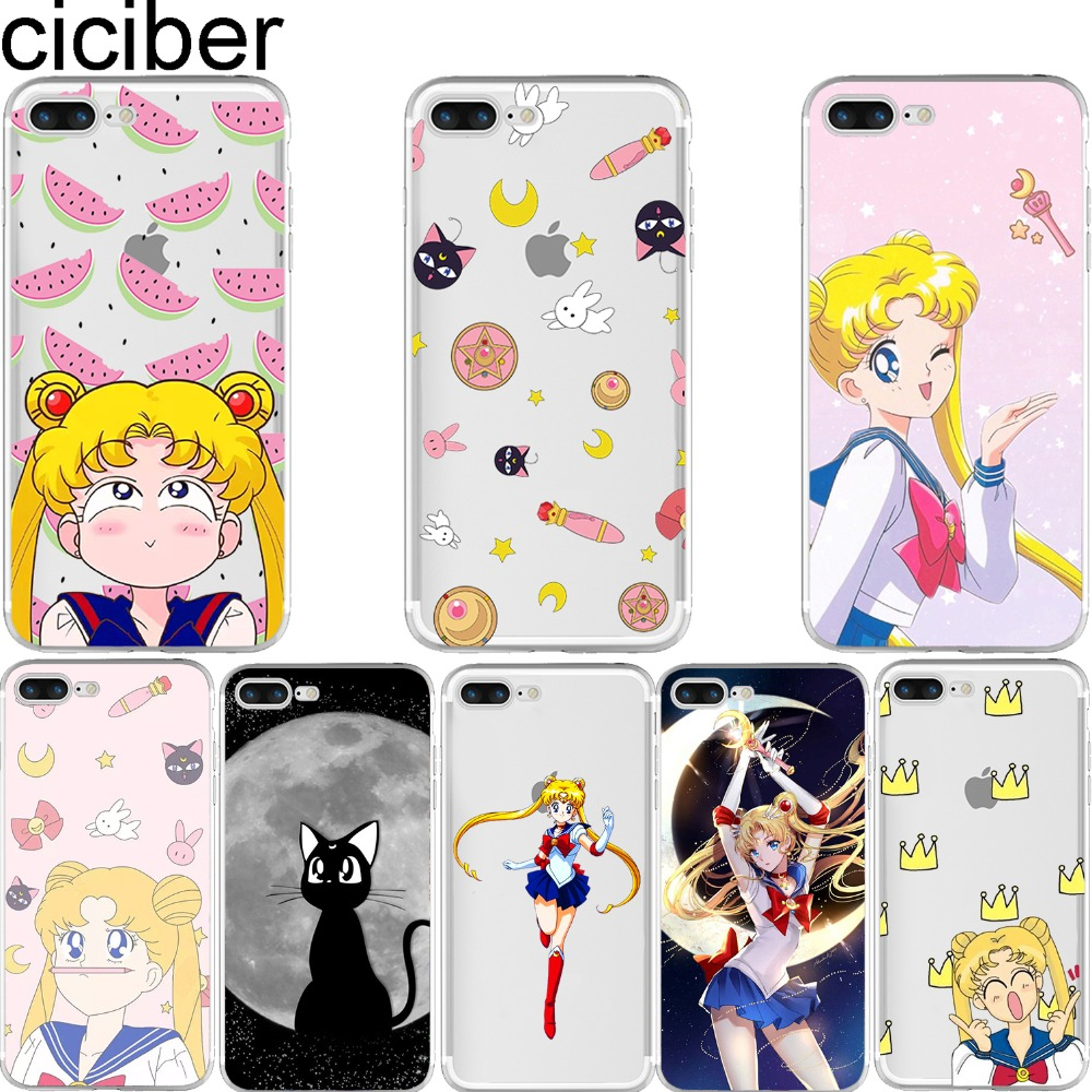 ciciber Sailor Moon Soft Silicone Phone Case for iphone 7 6 6S 8 Plus 5S SE 2020 X XR XS MAX Coque for iphone 11 Pro Max Fundas