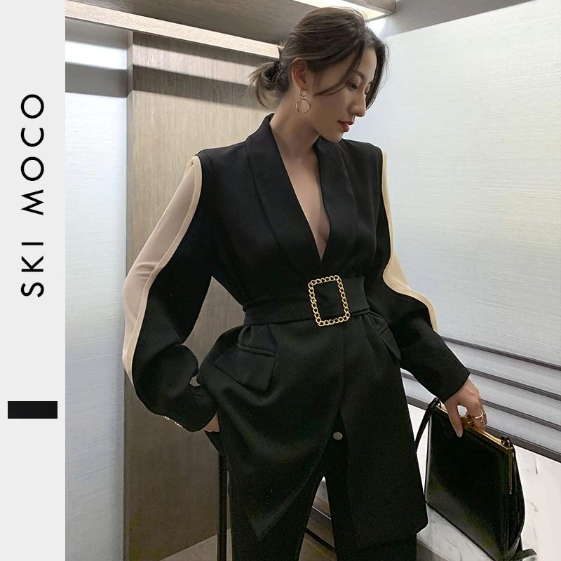 Women Blazer Feminino Metal Gold Buckle Belt Black Blazers Femme Fashion Ladies Jacket Coat Outwear Mujer 2019 High Quality