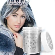 IMMETEE Color Hair Wax Styling Pomade Silver Grandma Grey Disposable Natural Hair Strong Gel Cream Hair Dye for Women Men 100ml