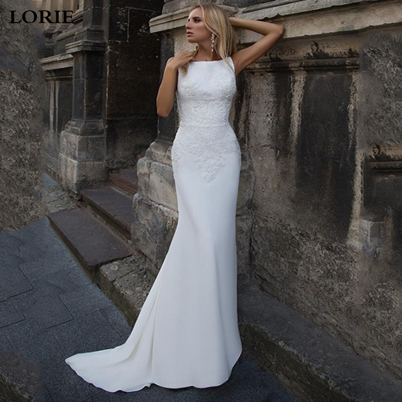 LORIE Mermaid Wedding Dresses 2020 Soft Satin Appliques Lace Beach Bride Dress Sexy Back Wedding Gown Hot Sale
