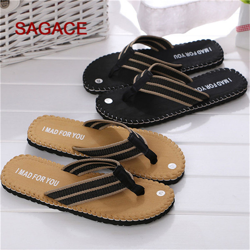 Hot Selling Fashion Men Summer Stripe Flip Flops Shoes Sandals Male Slipper Flip-flops EVA Mixed Colors Flat With Shoes 2019