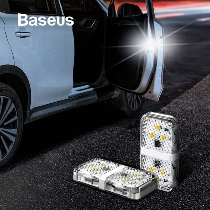 Baseus 2PCS Car Door Opening Warning Lights Waterproof 6 LED Safety Warn Light Flashing Auto Open Sticker