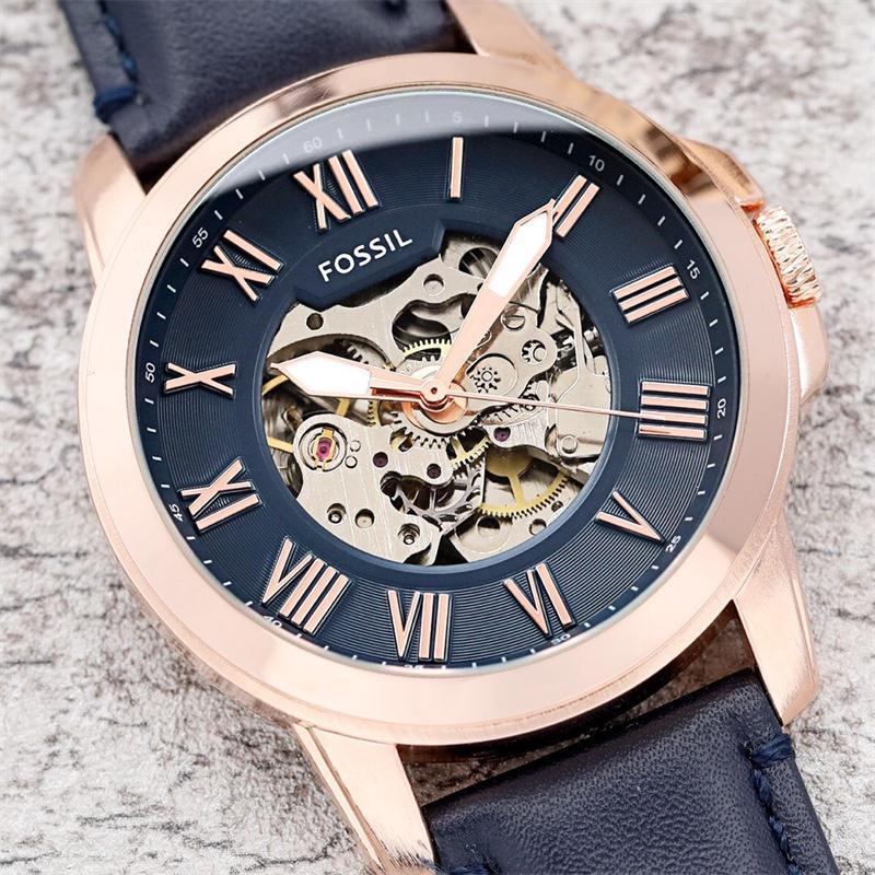 Fossile hommes AAA montre marque de mode montre mécanique hommes chronographe montres de sport avec bracelet en cuir