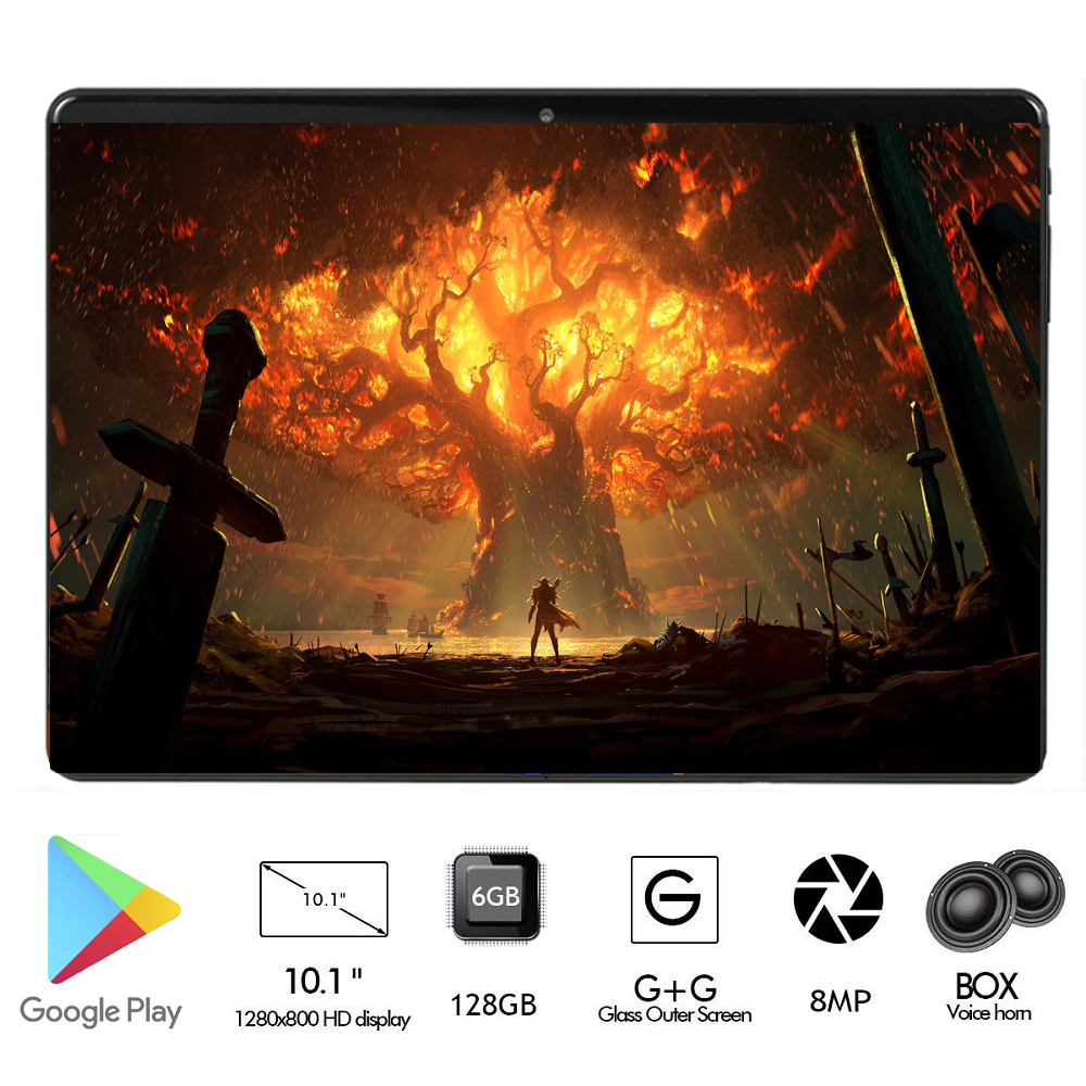 New 10 Inch Android 8.0 RAM 8G ROM 128G TABLET 2.5D Glass Octa Core 3G 4G LTE Dual Sim Cards WiFI A-GPS IPS Tablets 10 10.1