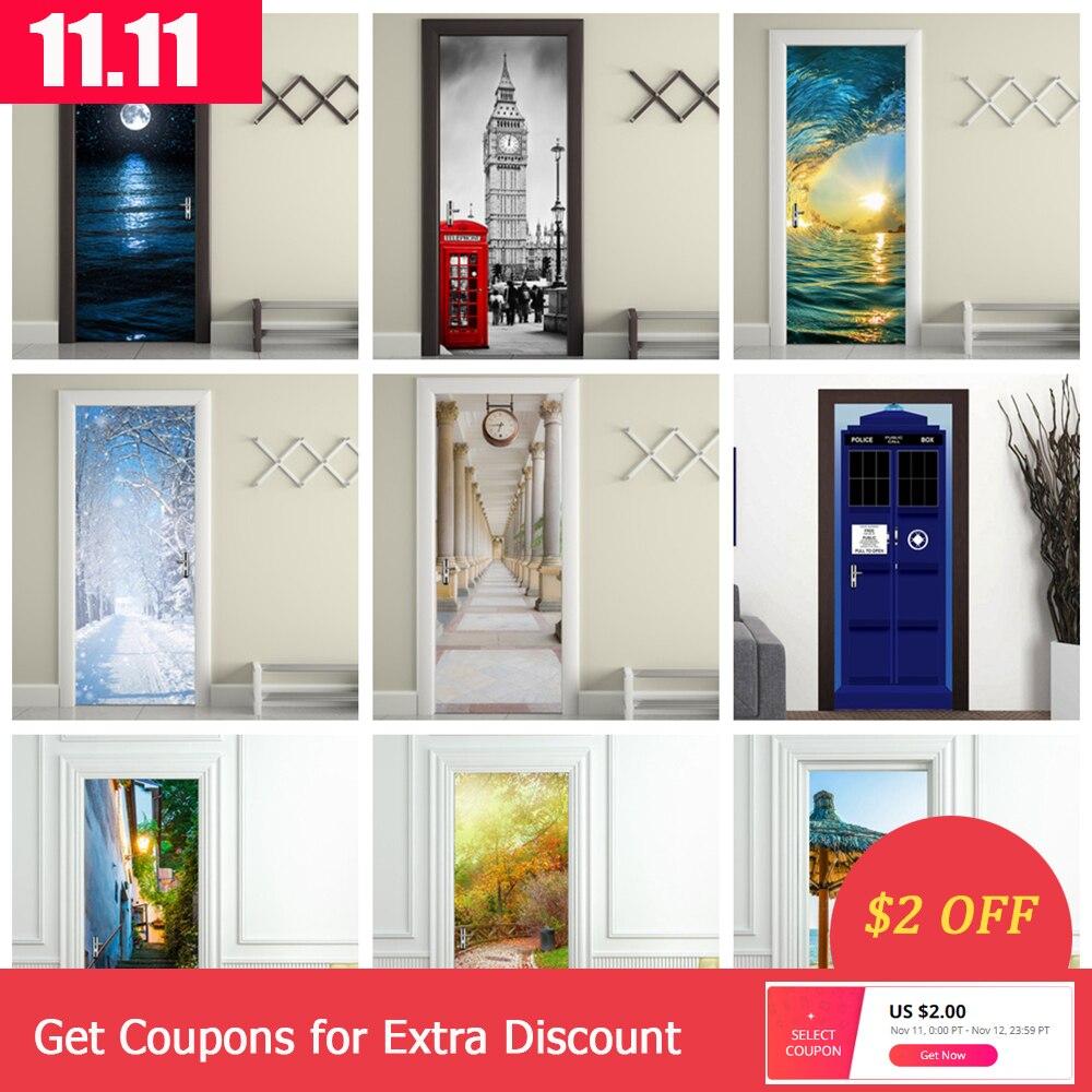 Home Decoration 3d Deur Sticker Adesivi Per Porte Landscape Art Wallpaper On The Door Waterproof Deurposter For Wall Door Decor