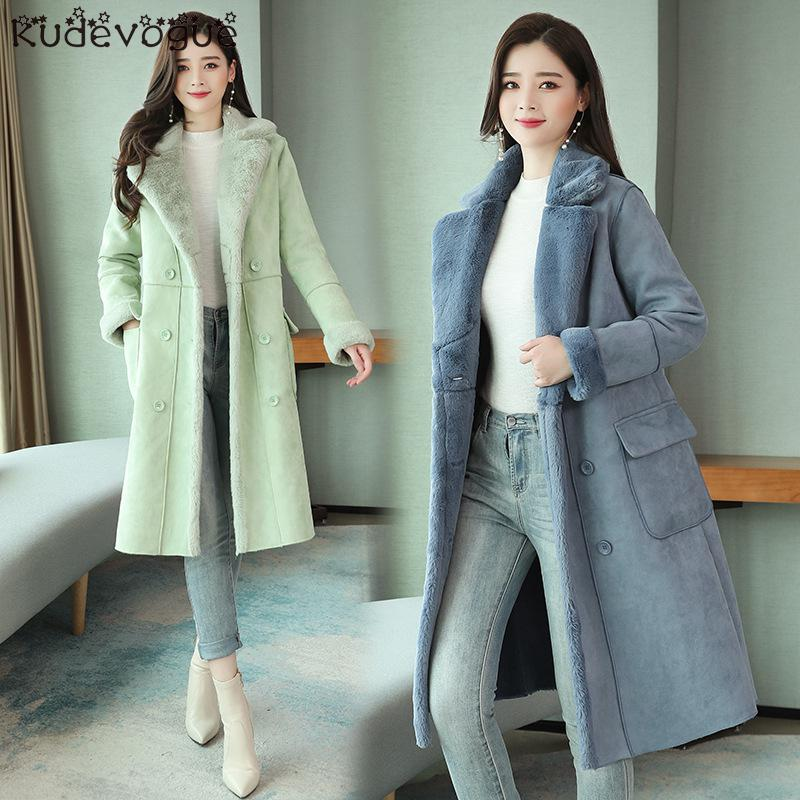 Lamb Coat Female Winter 2019 New Korean Version Of Loose Fur One Cotton Jacket Long Deer Suede Cotton Clothing
