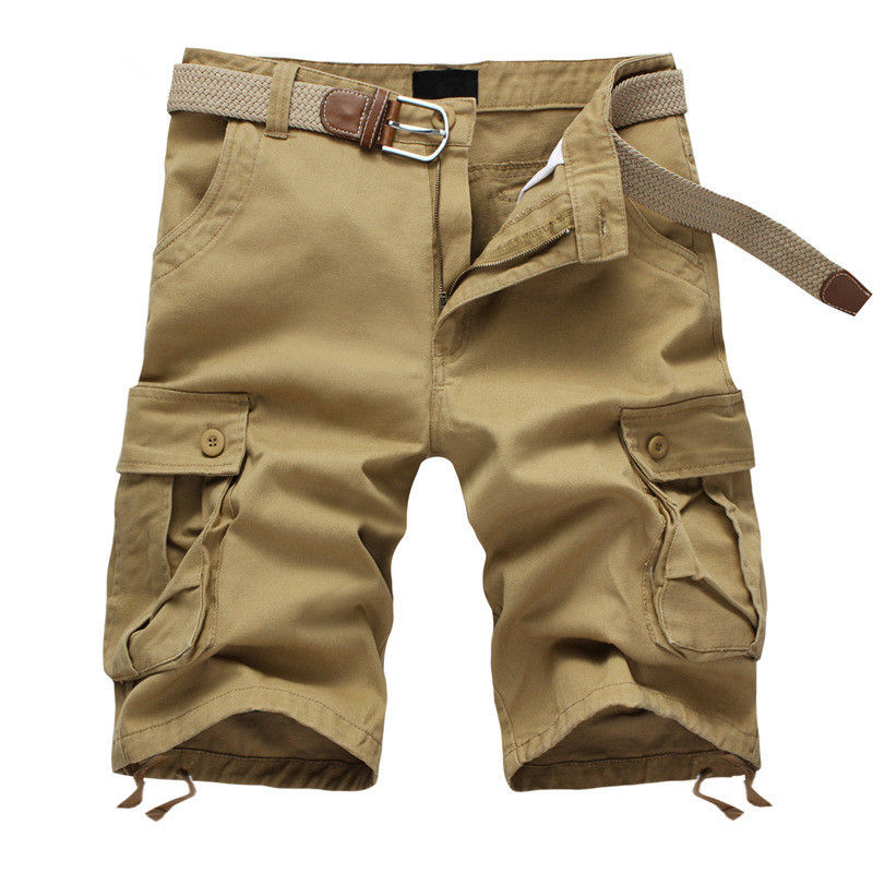 2019 Summer Men's Baggy Multi Pocket Military Cargo Shorts Male Cotton Khaki Mens Tactical Shorts Short Pants 29-44 No Belt
