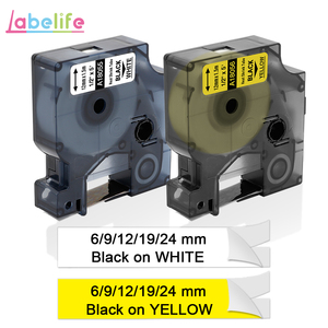 Labelife 1Pcs DYMO Rhino 18055 6/9/12/19/24mm Black on White Industrial IND Heat Shrink Tubes LabelWriter Label Makers S0718300(China)