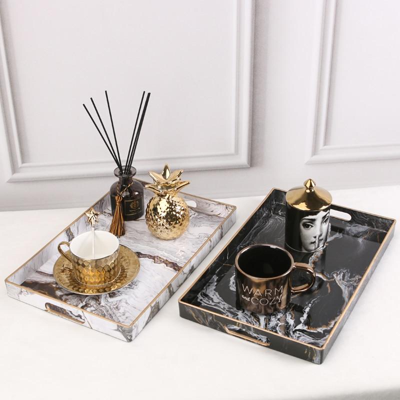 Поднос-органайзер для ювелирных изделий с золотой инкрустацией, роскошное домашнее украшение, прямоугольный мраморный сервировочный поднос-0