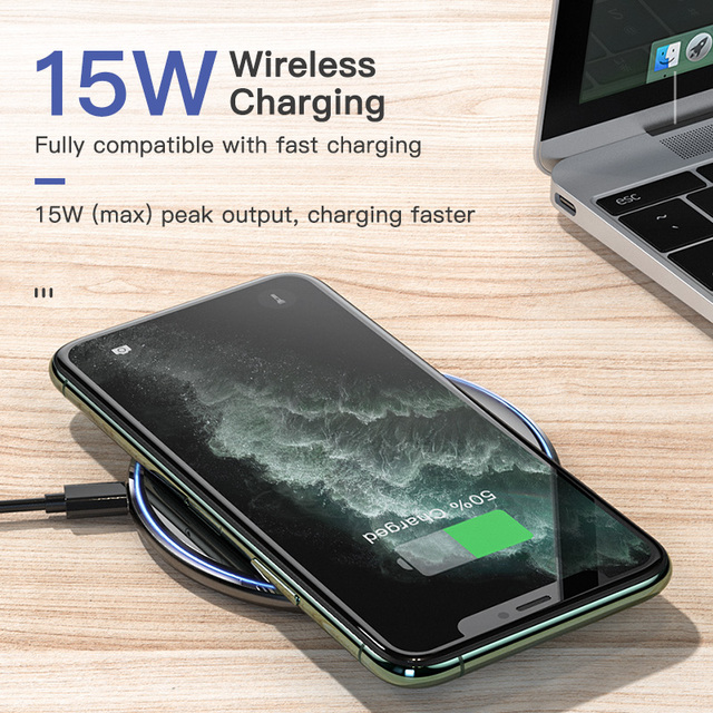 KUULAA Qi Wireless Charger 15W Phone charger For xiaomi mi 11 10s Wireless Charging Pad For iphone 12 11pro max mini x xr 8 plus 2
