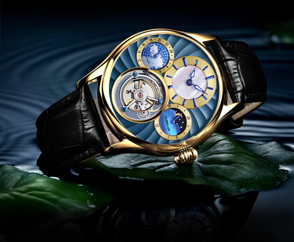 Original Tourbillon watch GUANQIN 2019 NEW clock men waterproof mechanical Sapphire leather top brand luxury Relogio Masculino 19