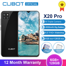Cubot X20 Pro 4G สมาร์ทโฟน 6GB + 128GB Android 9.0 FHD + Waterdrop หน้าจอ AI โหมด Triple กล้อง Face ID Cellura Helio P60 4000mAh