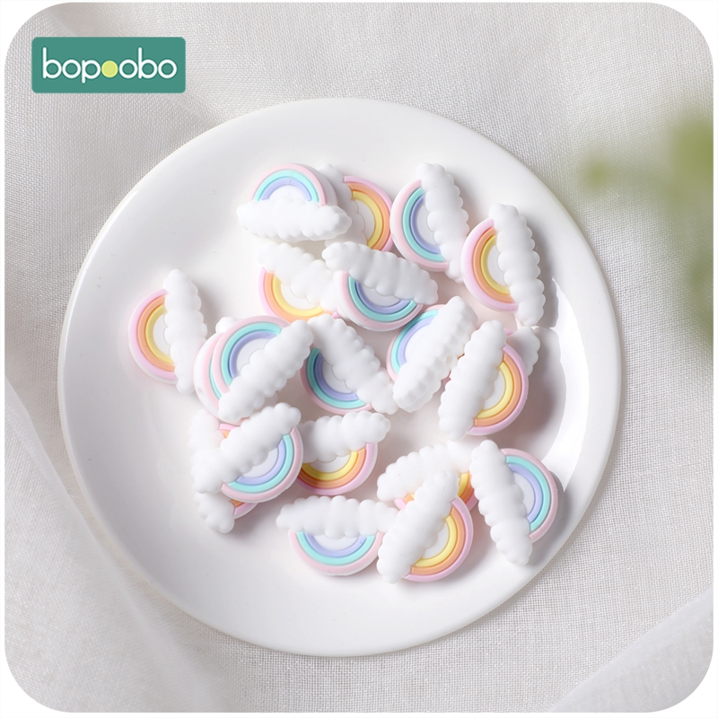 Bopoobo 10pc Silicone Tiny Rod Beads BPA Free Baby Teether Rainbow Mini Cloud DIY Pacifier Chain Teething Rodent Baby Product