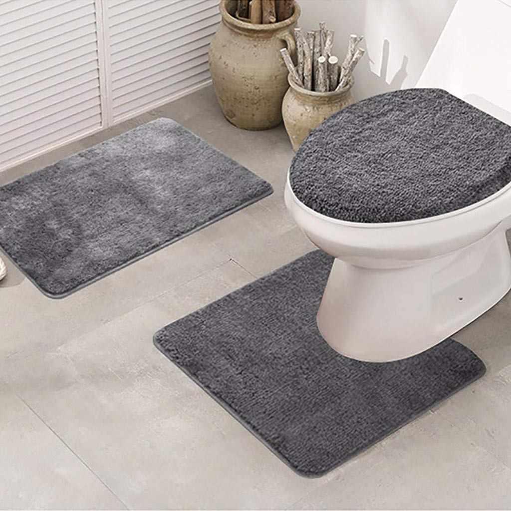 Solid 3pcs Bath Mats Set Anti Slip Bathroom Floor Mats Toilet Rug Lid Cover Absorbent Bathroom Carpets Set Toilet Seat Covers Aliexpress