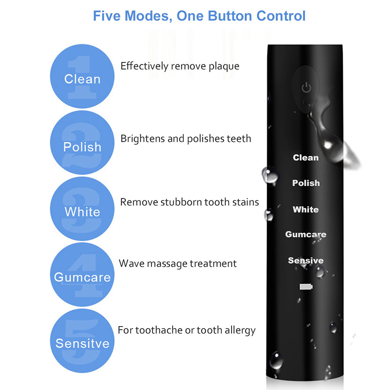 AD-5 Mode Sonic Rechargeable Electric Toothbrush 4x Brush Heads Waterproof Ipx7 Charging, Black (Normal Usb Charging)