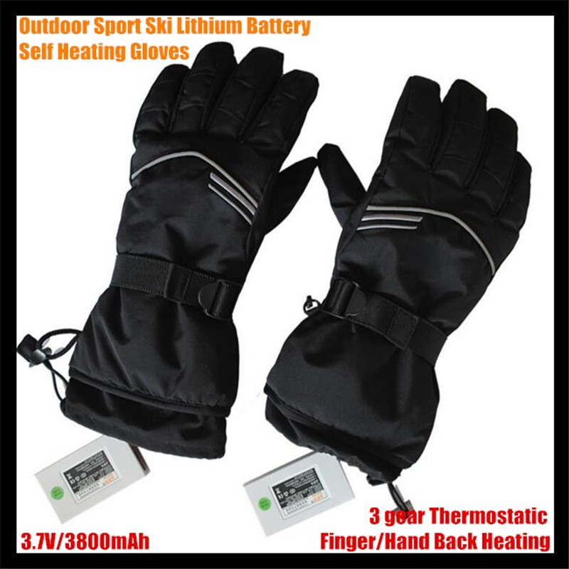 30pairs Ski USB Electric Heated Gloves Lithium Battery Self Heating Gloves Finger/Hand Back Heat,3 Gear Thermostatic Warm 6-12h