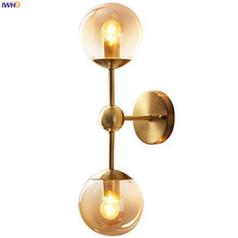 IWHD American Country Glass Ball LED Wall Light Fixtures Bedroom Bathroom Mirror Stair Copper Wall Lamp Sconce Lamparas De Pared
