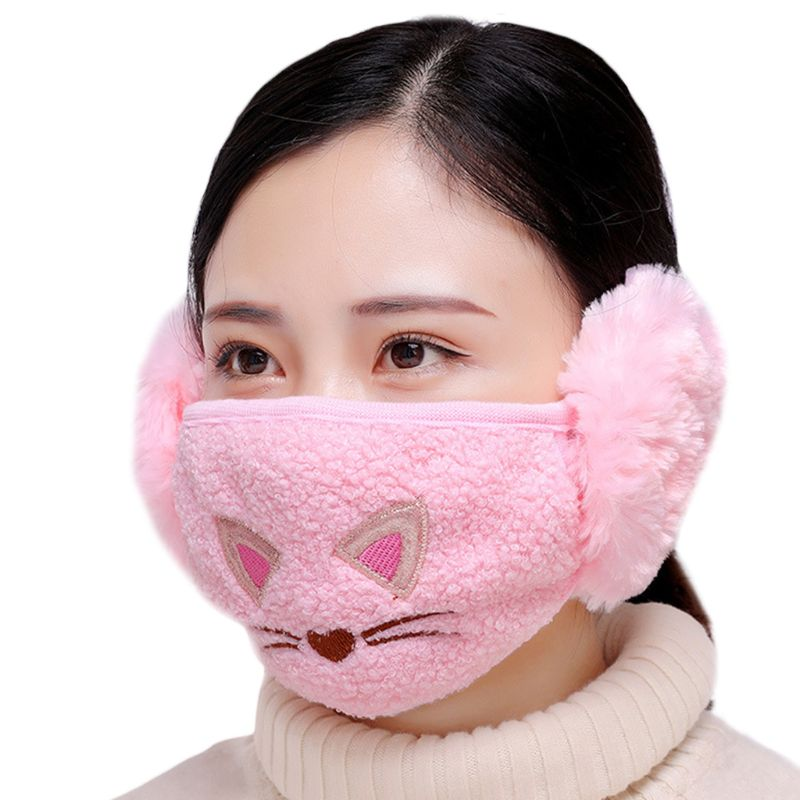 Cute Cartoon Cat Embroidered Earloop Mouth Mask Cotton Plush Windproof Earmuff