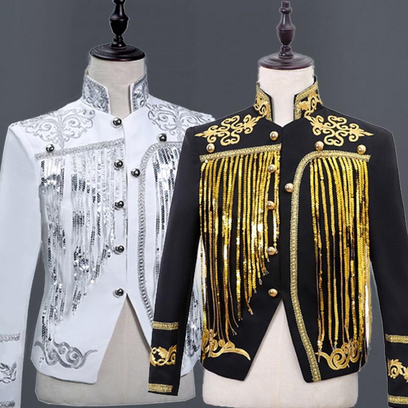 Gold Tassel Sequins Blazer Jackets Men Single Breasted Mens Black Suits Stage Prom Wedding Glitter Blazers Homme Singer Costumes DT1496