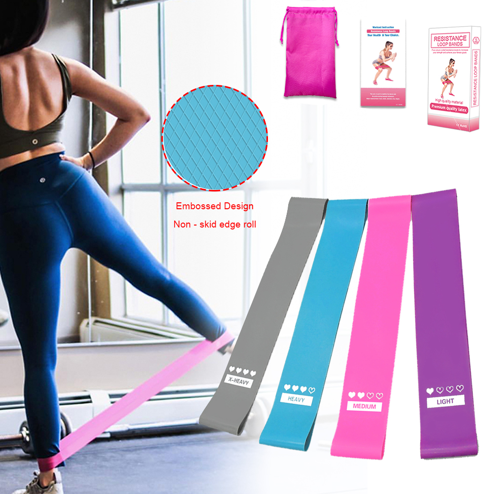 4PCS High Quality Latex Tension Band Fitness Non-slip Resistance Yoga Exercise Physical Therapy Household Fitness