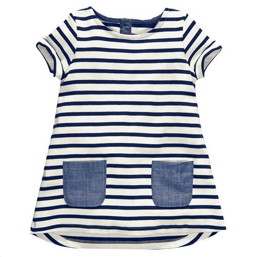 Girl Summer Dress For Girl Princess Costume Denim Kids Dress Children Baby Toddler Striped Clothes Dress 2 3 4 5 6 7 8 Year 2020
