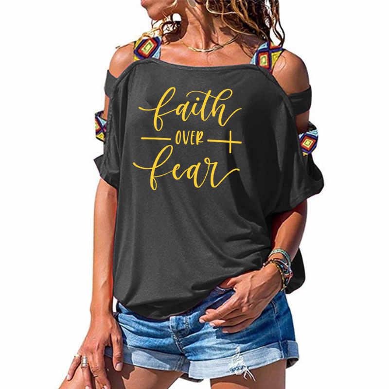 Iman Lebih Takut Kaos Wanita Fashion Terinspirasi Agama Christian Church Tops Tees Kasual Musim Panas Hollow Keluar Bahu Tshirt