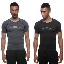 Mens Sports Slim Tops Short Sleeve Casual Round Neck Clothes Fitness Running Elastic T-shirts Soft and comfortable
