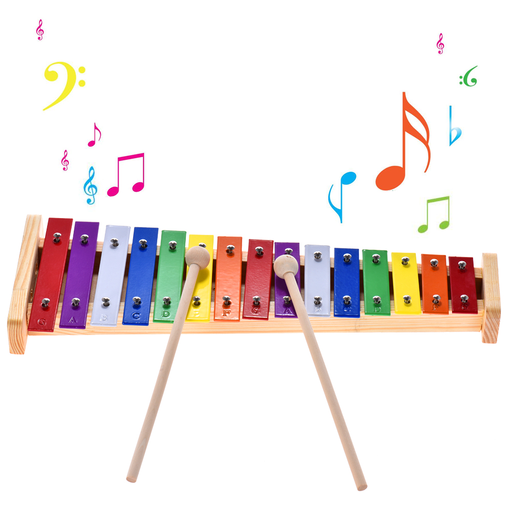 Colorful Glockenspiel Xylophone Wooden & Aluminum Percussion Musical Instrument Educational Toy  For Baby Kids Children