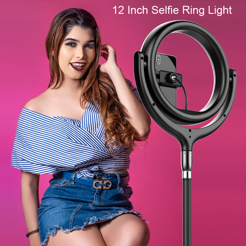 Photo Studio lighting LED Ring Light Touch Control Phone Photography Dimmable Ring Lamp 1 7M Stand for Portrait Makeup Video