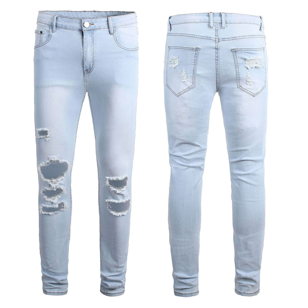 Men's New Fashion Personality Ripped Slim Fit Zipper Stretch Denim Trousers Mens Elastic Waist Harem Pants Jogger Clothes 1.15