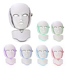 7 Color LED Facial Mask Photon Skin Rejuvenation Therapy Face Neck Mask Infrared Light Whiten Repair Skin Acne Removal Mask heating light machine for face messager acne spot skin rejuvenation light photon led therapy bacteria killing removal improve