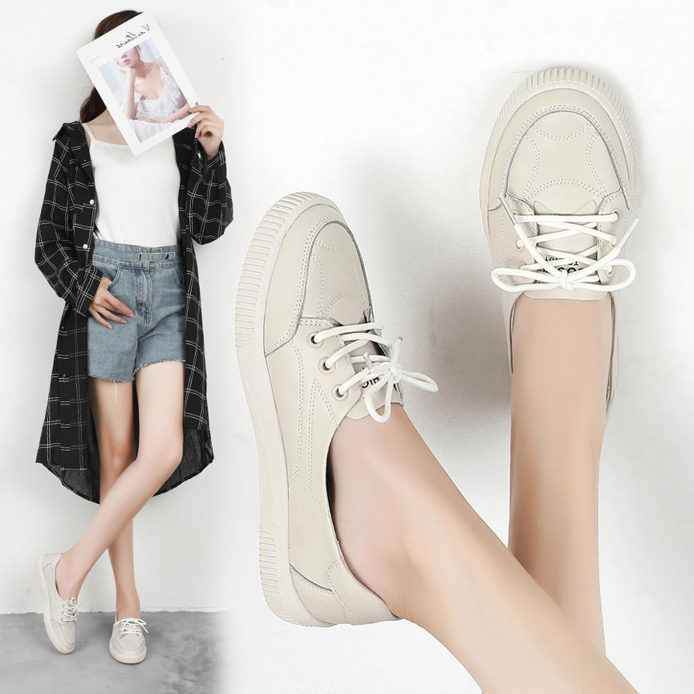 Image 5 - Women Casual Shoes Comfortable White Nude Sneakers Fashion Lace Up Split Leather Girls Casual Flats ShoesWomens Vulcanize Shoes   -