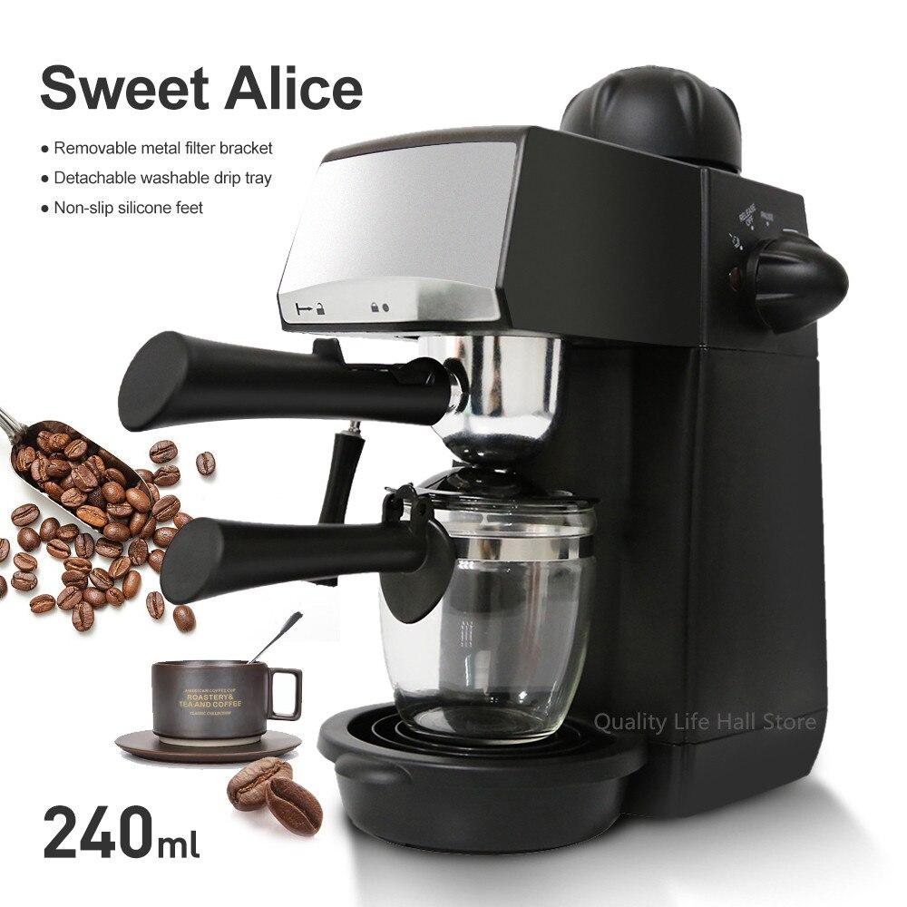 240ml SW-CRM2001 Semi-Automatic Espresso Coffee Machine Steam Type Overheat Overvoltage Protection Pause Function Coffee Maker FM-трансмиттер