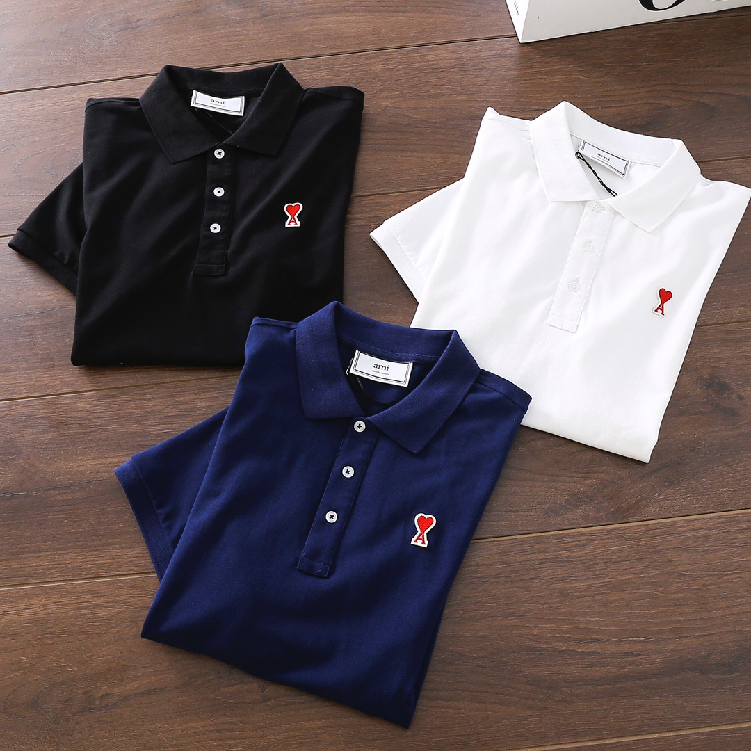 21ss New luxurious brands design Ami Paris Polo Cotton Tee Shirt Men Women Streetwear Sweatshirt Outdoor T-shirts