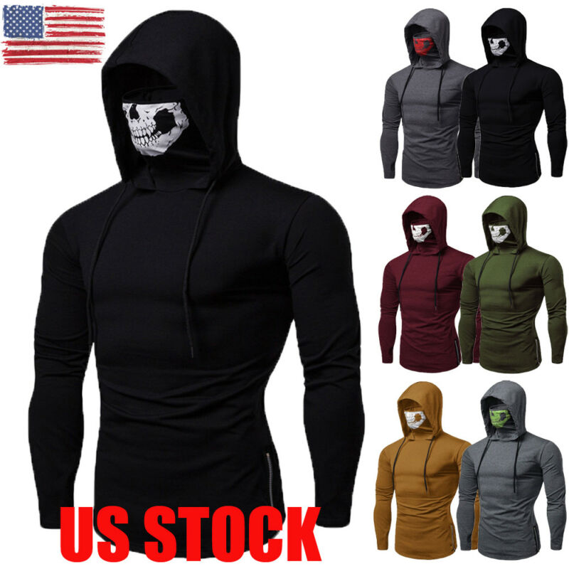 2019 Newest Fashion  Mens Gym Thin Hoodie Long Sleeve Hoodies With Mask Sweatshirt Casual Solid Hoodies