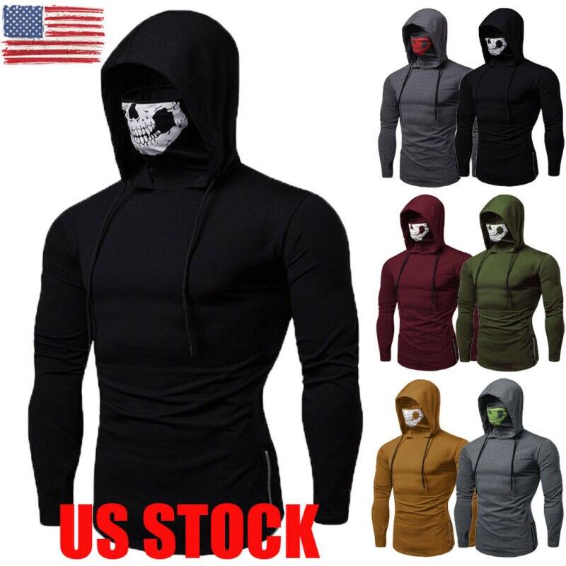 2019 Newest Fashion  Mens Thin Hoodie Long Sleeve Hoodies With Mask Sweatshirt Casual Solid Hoodies