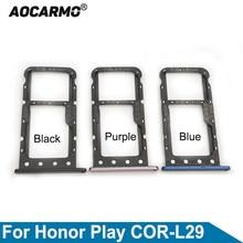 Aocarmo para huawei honor play COR-L29 sd microsd titular nano cartão sim bandeja slot peça de substituição