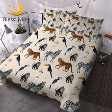 BlessLiving Wild Animals Duvet Cover Set 3D Print Bedding Set Zebra Parrot Comforter Cover Toucan Monkey Leopard Bedspreads 3pcs(China)