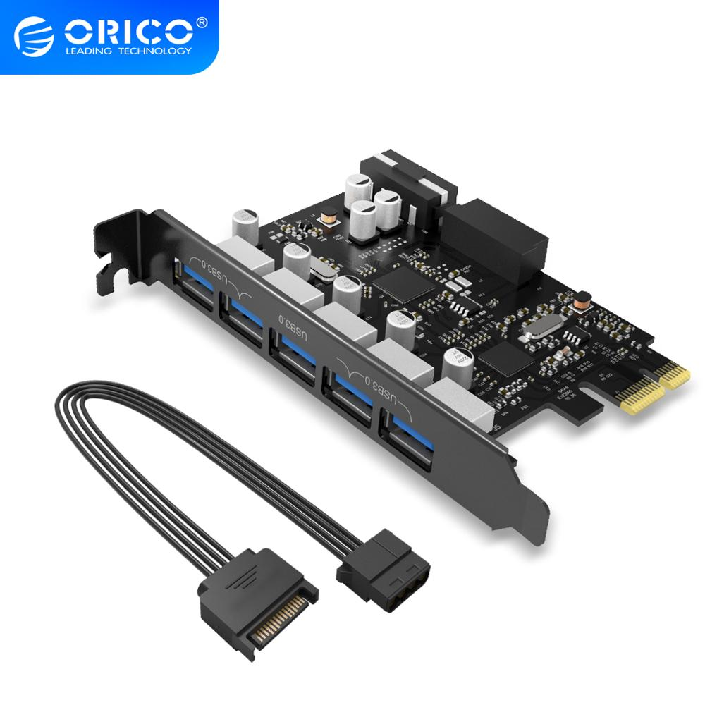 <font><b>ORICO</b></font> PVU3-5O2I <font><b>USB3.0</b></font> 5-Port <font><b>PCI</b></font>-E Expansion Card With Dual Chip High-Speed 5Gbps Black PCBA With 20 Pin Slot image