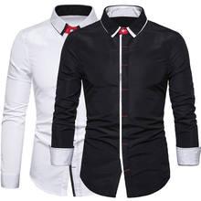 Casual Personality Mens Social Shirt Men Fashion Long-sleeved Blouse Top Long Sleeve