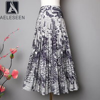 AELESEEN Runway Fashion Women Skirt 2020 Women's Vintage Designer Skirt High Quality Flower Print Mid Calf Pleated Skirt