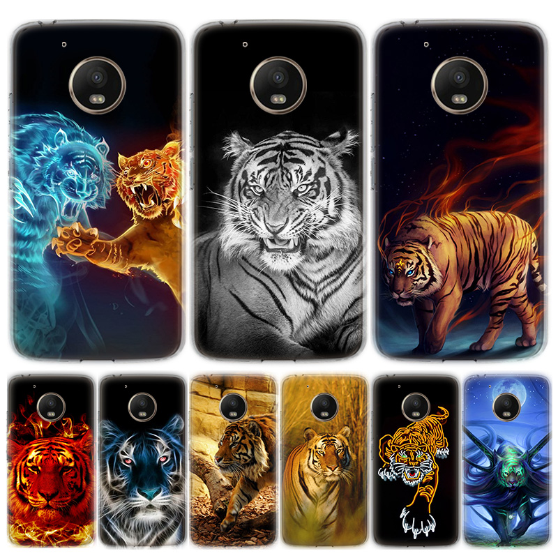 Abstract Tiger On Moon Phone Case For MOTO Motorola G8 E4 E5 E6 G7 G6 G5S Plus Play Power ONE Action Cover Coque Soft Silicone
