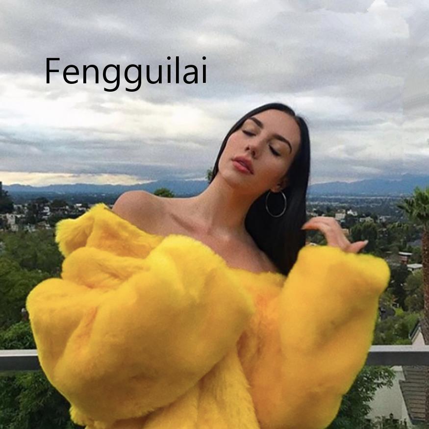 FENGGUILAI Faux Fur Coats Women Thick Brand Steetwear Streetwear Female Yellow Fur Coats And Jackets Winter Warm Fur Coat