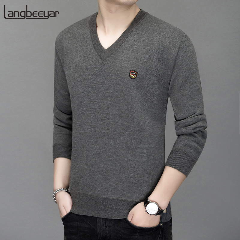 Warm Velvet New Fashion Brand Sweaters Man Pullovers V Neck Slim Fit Jumpers Knitwear Autumn Korean Style Casual Mens Clothes