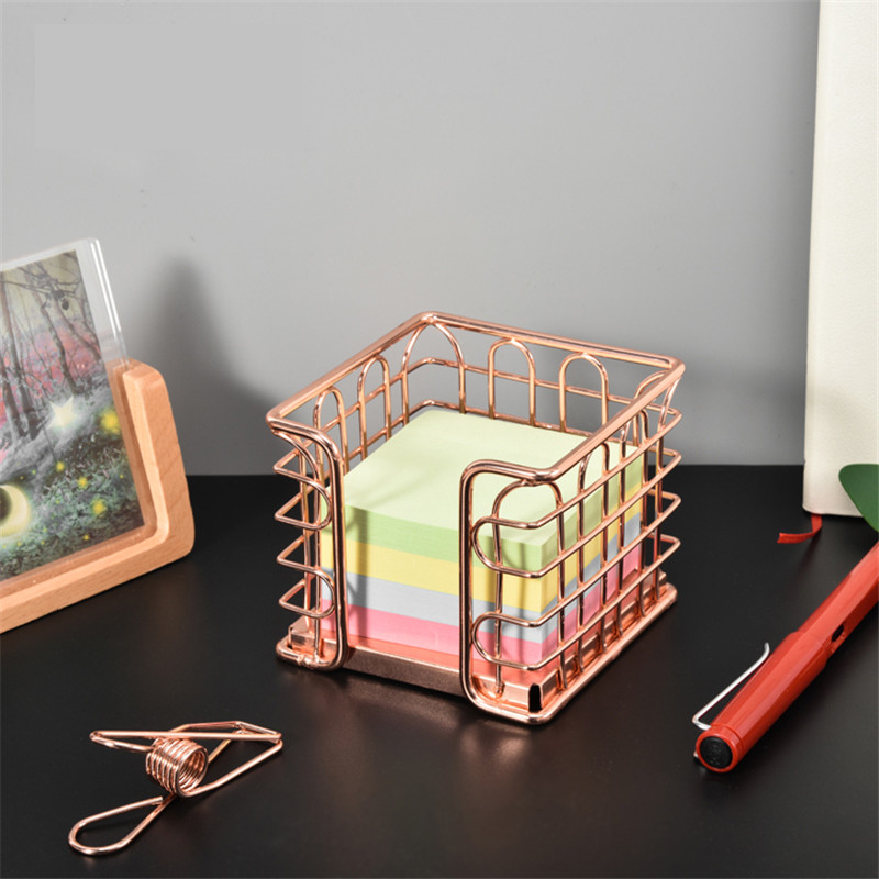 Creative Metal Rose Gold Note Paper Stationery Box Home Office Desktop Storage Basket Pen Holder Stationery Organizer Decoration