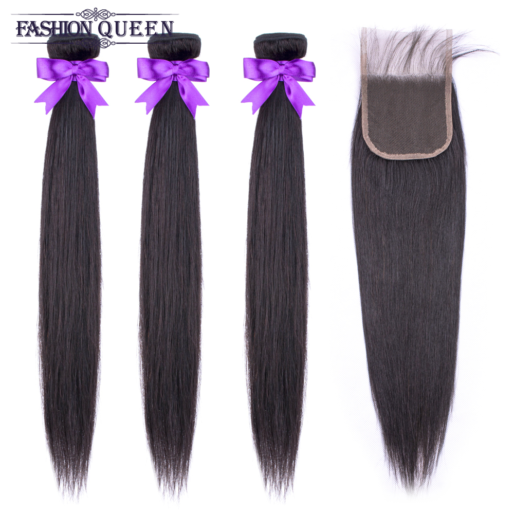 Brazilian Straight Hair Bundles With Closure 3 Bundles Human Hair Weave Bundles With Closure Hair Extensions Fashion Queen