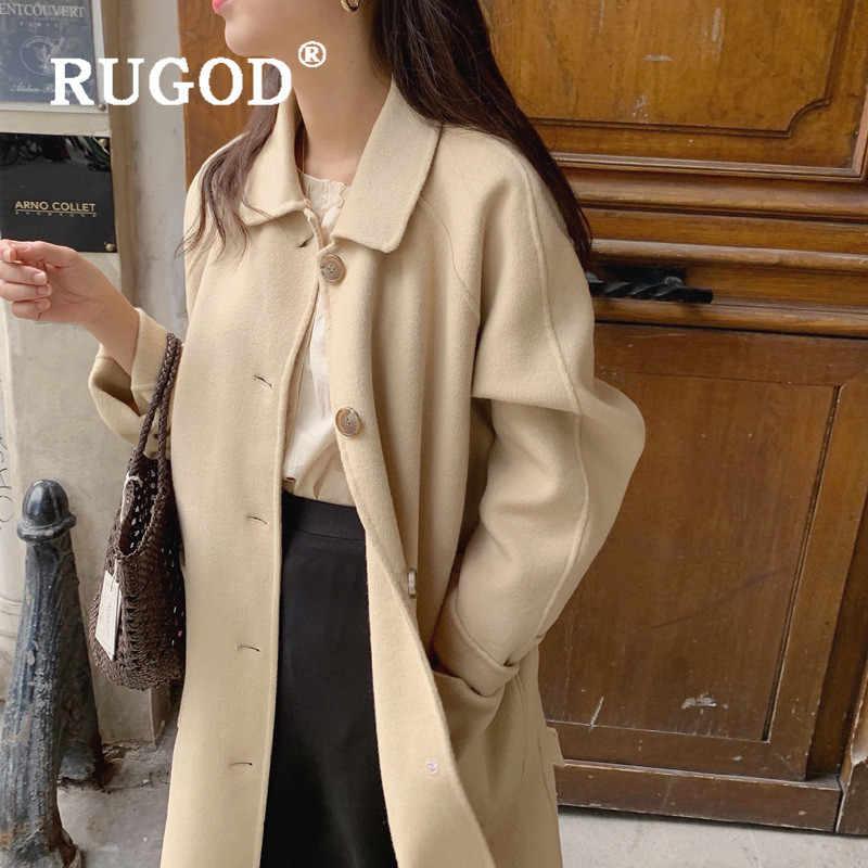 RUGOD kadınlar çift yünlü yünlü kadınlar moda çıkarılabilir kuzu yün yaka tek göğüslü yün ceket tunik kuşaklı uzun ceket